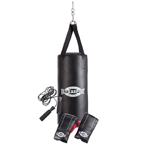 Ultrasport Boxing Gear-Series Boxing Set incl. Vinyl Punching Bag 27.5 x 12 ins (70 x 30 cm) filled, 8 oz Boxing Gloves and Jump