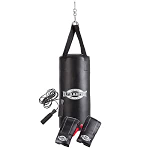 Ultrasport Boxing Gear-Series Boxing Set incl. Vinyl Punching Bag 27.5 x 12 ins (70 x 30 cm) filled, 8 oz Boxing Gloves and Jump Rope