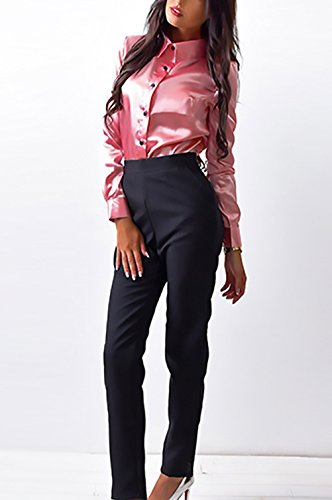 Donna Camicia Autunno Invernali Elegante Camicie Slim Fit Casuale Formale Business Blusa Manica Lunga Bavero Puro Colore Camicetta Single Breasted Classico Camicette Pink