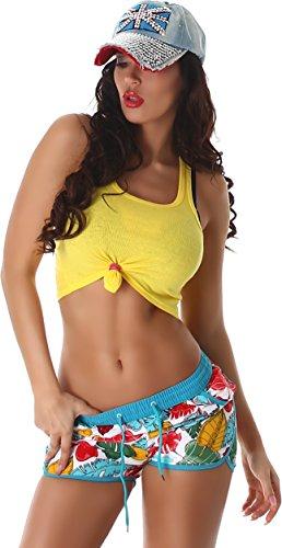Veryzen Damen Shorts Boardshorts Pants Hose Kurz Retro Panty Vintage Blumen mit Tunnelzug Sporthose Türkis 40 (Etikett XL) - Streifen Panty Kurz