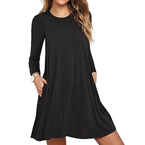 SHOBDW Moda mujer bolsillo manga larga casual loose camiseta vestido de fiesta de noche (Negro, XXL)