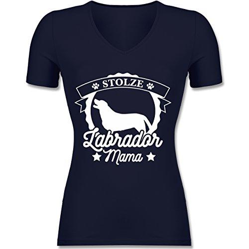 Shirtracer Hunde - Stolze Labrador Mama - Tailliertes T-Shirt mit V-Ausschnitt für Frauen Dunkelblau