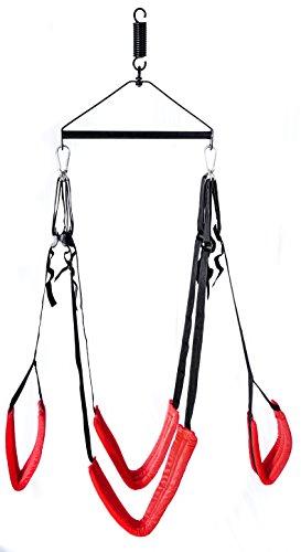 Gipfelstürmer Liebesschaukel, gepolsterte Komfortschlaufen, inklusive HILTI Befestigungsmaterial und Bohrer, Farbe schwarz/rot