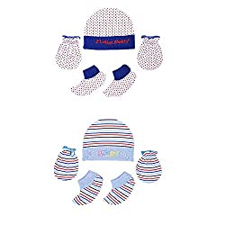 132 New Born Baby Premium Quality Cotton Cap, Mittens and Cute Socks   0-6 Months   Pack of 2