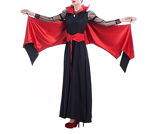 Feicuan Damen Halloween Kostüm Queen Kleid Vampir Masquerade Bat Cosplay (Red Kleid Masquerade)