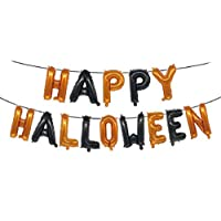 "Aerobin Self Inflating Happy Halloween Balloons, Large 16"" Foil Letter Happy Halloween Balloon Self-Inflating Banner for Halloween Decoration"