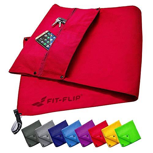 Fit-Flip Fitness Handtuch Set mit Reißverschluss Fach + Magnetclip + extra Sporthandtuch | zum Patent angemeldetes Multifunktionshandtuch, Microfaser Handtuch (rot)