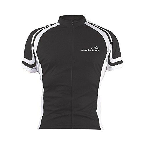 Outstars Fahrrad/Bike Trikot Kurzarm, Schwarz/Weiß, Größe XL