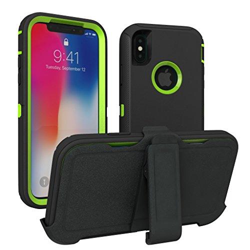 iPhone X Fall, iPhone 10Fall, Toughbox [Armor Serie] [stoßfest] für Apple iPhone X Fall [kommt mit Holster & Gürtel Clip] [passt in Otterbox Defender Serie Gürtelclip], Black | Lime -