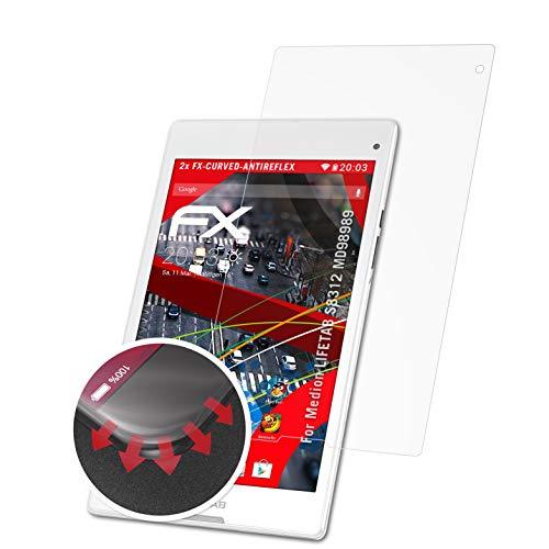 atFolix Schutzfolie passend für Medion LIFETAB S8312 MD98989 Folie, entspiegelnde und Flexible FX Displayschutzfolie (2X)