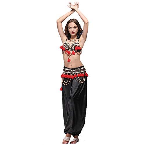 Kostüm Tanz Indischen Der Klassischen - Yuefensu Damentanzkostüm Frauen sexy Bauchtanz BH Gürtel professionelle BH Korsett Hosen Unverzichtbares Kleid für Jede Tanzperformance (Farbe : Schwarz, Größe : L)