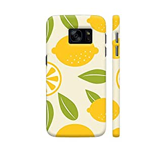 Colorpur Samsung S7 Cover - Lemon And Leaves Pattern On Yellow Printed Back Case