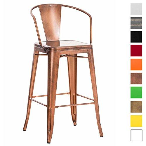 CLP Metall-Barhocker VASBRO mit Hoher Rückenlehne   Pflegeleichter Tresenstuhl mit Fußstütze   Retro-Thekenhocker mit Einer Sitzhöhe von: 77 cm   in Verschiedenen Farben erhältlich Kupfer