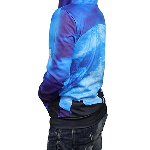 Idgreatim Unisex Kapuzenpullover 3D Bedruckte Tunnelzug Pullover Swearshirt Mit Taschen Sternenlicht Blau