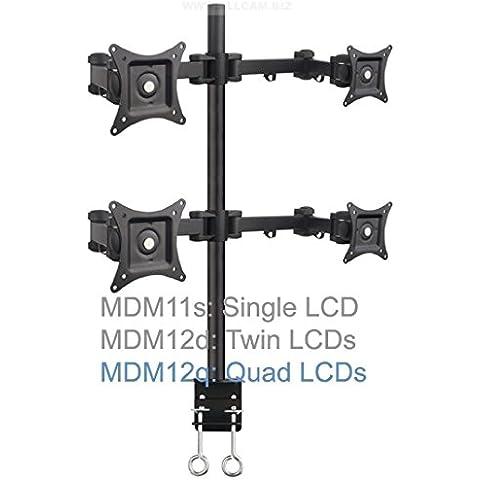 MDM12Q Quadruple LCD Monitor Desk Mount Bracket/ Monitor Arm Stand Tilt Swivel Rotate 4 Monitors