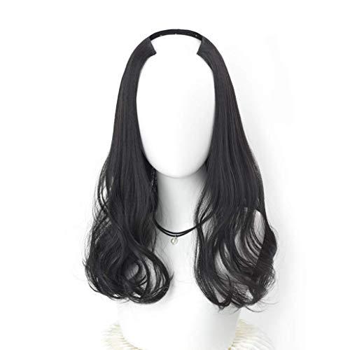 Lockige Perücken natürliche, hitzebeständige und voll gewellte Perücken für Frauen, hochwertige Perücke lang ca. 46 cm / 18 Zoll (Farbe: braun schwarz)
