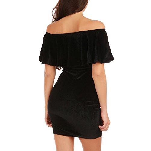La Modeuse - Robe courte femme en velours Noir