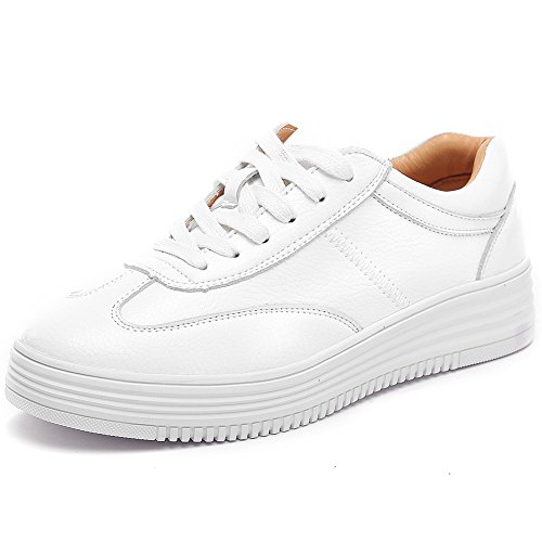 Shenn Donna Laces Modello Piattaforma Casuale Pelle Formatori Sneaker Scarpe Bianca
