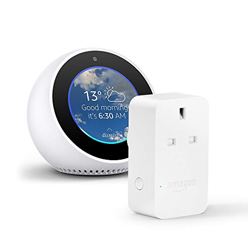 Amazon Echo Spot, White + Amazon Smart Plug