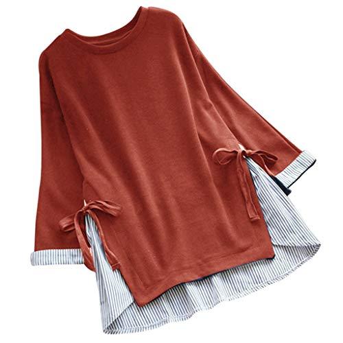 Kviklo Deman Plus Size Shirt Tops Streifen Schnür Einfarbig Patchwork Loose Baggy Bluse Oversize(XL(42),Orange) -