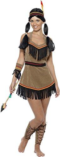 Indianerin Kostüm Braun mit Kleid Gürtel Stirnband Armband und Beinstulpen, Medium