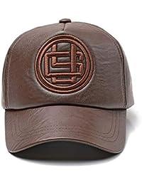 Mzdpp PU Sombrero De Cuero Hombres Gorra De Béisbol Sombreros De Béisbol De  Cuero De La 326113775c2