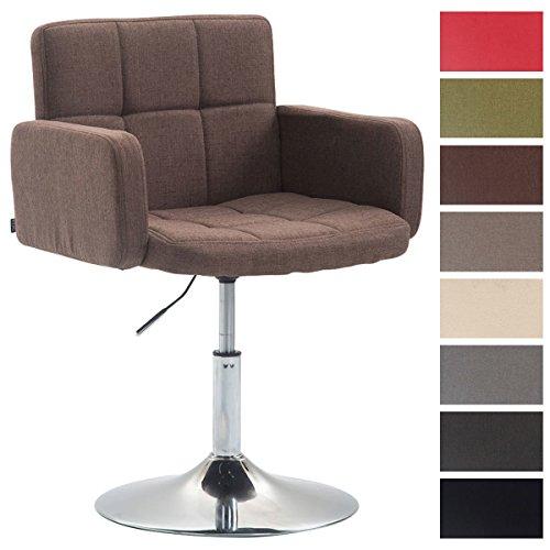 CLP Design Lounge Sessel LOS ANGELES mit Stoff-Bezug, Lounger drehbar / höhenverstellbar, Esszimmerstuhl mit Trompetenfuß in Chromoptik Braun