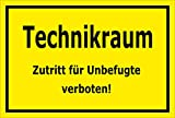 Melis Folienwerkstatt Schild - Technik-Raum - 30x20cm | 3mm Hartschaum – S00070-079-C -20 VAR