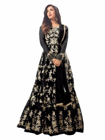Karma fashion Black Women's Net Semi Stitched Party Wear Long Salwar Kameez...