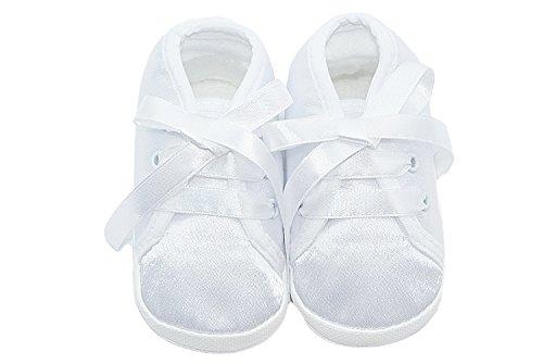 Babyschuhe Taufschuhe mit Schleife in weiß Weiß