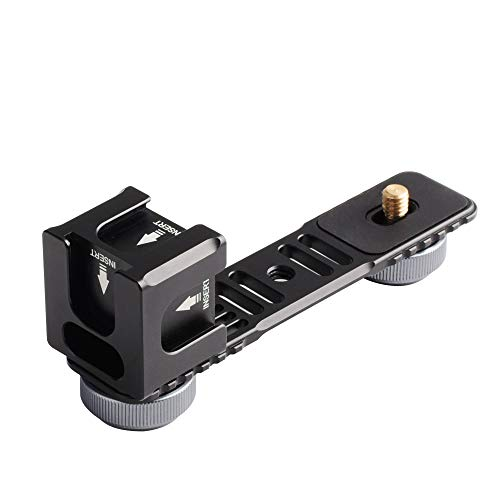 Docooler Gimbal Verlängerungsstange Universal Extension Aluminiumlegierung Bar Bracket Adapter mit 4 kalten Schuhmontage 1/4 Zoll Schraubadapter für LED-Videolicht Mikrofon für Zhiyun Smooth-Serie -