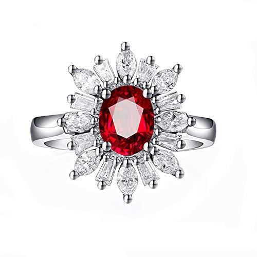 Epinki fedi nuziali donna 18k oro bianco anello 1.2ct ovale forma rubino diamante anello matrimonio anniversario anello taglia 8