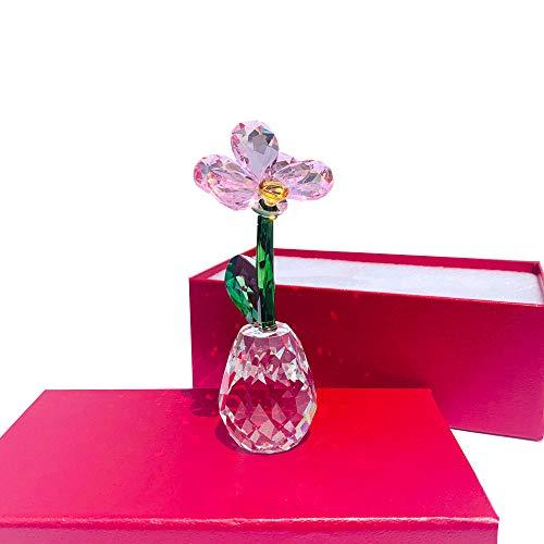 QWERWEFR Kristall Blume Figuren Glas Unfading Motte Orchidee Bouquet Skulptur Ornament Hochzeitsgeschenk Home Decor (Orchidee-statue)