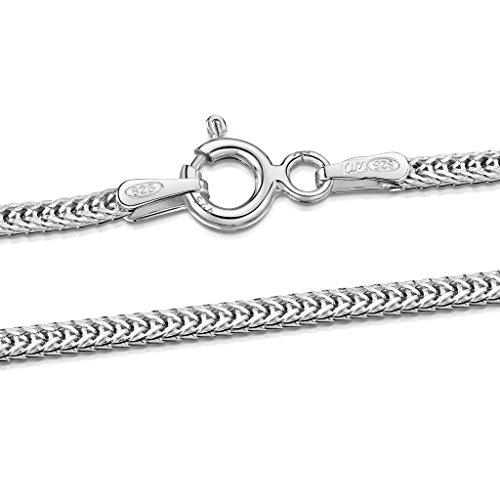 Amberta® Joyería - Collar - Fina Plata De Ley 925 - Cadena de Plano de Trigo - 1.4 mm - 40 45 50 55 60 cm