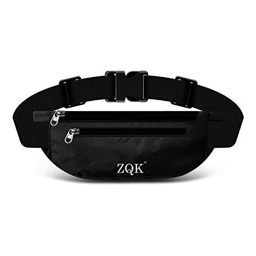 Laufgürtel Schlüssel Hüfttasche, Lauftasche für Handy, Sport Jogging Fitness Gürtel iPhone 6 7 Plus + Samsung Galaxy S7 Edge S8 + Plus Huawei HTC ZTE UVM. (Schwarz)