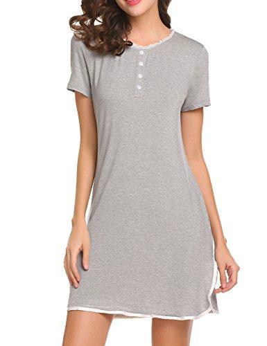 f18df2acf2b06a Damen Knopfleiste Kleid Kurz Nachthemd Sleepshirt Negligee Kurzarm  Nachtwäsche Sleepwear Sleepshirt Reine Farbe mit Spitzenbesatz Gr