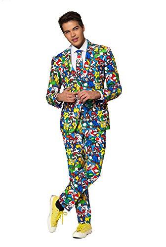 OppoSuits Karnevalskostüme Herren festlichem Druck Anzug mit Krawatte, Super Mario, - Super Einfach Kostüm Für Erwachsene