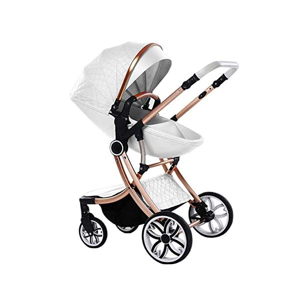 Two Way Fashion Strollers 2 in 1 Baby Pushchairs Newborn Prams Toddlers Bassinet Fold Reclining (Color : White) WSZLSD ◆Stylish dynamic egg-shaped baby stroller, PU leather eggshell seat, effectively protect baby's spine development, add hidden sleeping basket, adjustable handlebar and awning, large storage basket, Rotate the front wheel with a suspension spring, Fully adjustable 5-point harness. ◆Aluminum alloy frame has a good luster, It is lighter than iron (or steel, copper) and never rusts, so it can be used for a longer period of time ◆No need for inflatable rubber explosion-proof wheels, and can easily roll on all rough terrain, such as grass, gravel road, sidewalk, sand and so on,The front wheel has a shock absorber function to protect the baby's body, and the rear wheel has double brakes to ensure safe travel. 1