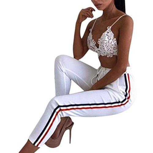 Frashing Yoga Hosen, Frauen Yoga Pants Farbverlauf Trainings Leggings Stretch Hose Casual gestreifte Hosen elastische hohe Taille beschnitten Länge OL Hose (M, Weiß) (Strumpfhose Denim-gestreifte)