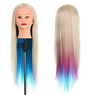 Anself Hair Training Head Dummy Head with Thick 70cm Long Hair Dolls Head For Hairdressers