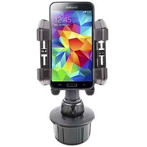 Support voiture solide, bras flexible, pour Smartphone Samsung Galaxy S5 (SM-G900F), S5 Active, S5 Duos (G900FD) Zoom et K Zoom Android 4.4 KitKat - fixation porte-gobelet & grille d'aération