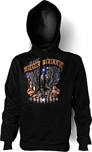 Kapuzenshirt mit Motiv - Born free - Motorrad Hoodie mit Amerika USA Flair als Geschenk-Idee für Biker - Schwarz, Größe:M
