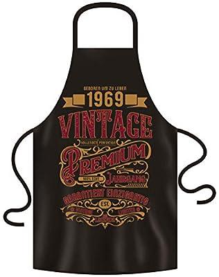 Kochschürze Grillschürze im einzigartigen Look - Spruch: Geboren um zu Leben Premium Vintage 1969 Originelle Geschenkidee 50. Geburtstag Farbe: schwarz