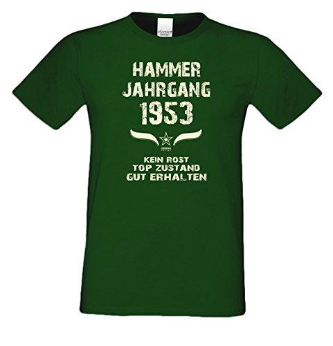 Modisches 64. Jahre Fun T-Shirt zum Männer-Geburtstag Hammer Jahrgang 1953 Ideale Geschenkidee zum Jubeltag Farbe: dunkelgrün Dunkelgrün