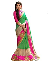 Shiroya Brothers Women's Silk & Georgette Saree With Blouse Piece (Sb_P_Green)