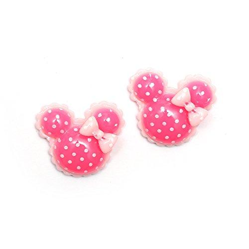 Pendientes con broche de Idin - Diseño de Minnie Mouse con lunares rosas (aprox. 19 x 17 mm)