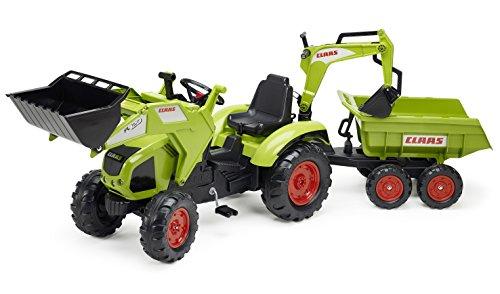 Falk - 1010W - Vélo et Véhicule pour Enfant - Tracteur Claas Axos + Pelle + Excavatrice + Remorque Maxi GM