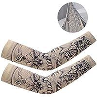 DQWGSS Mangas del Brazo Enfriamiento Protección UV Transpirable con diseños de Tatuajes para Hombres Mujeres Niños para Ciclismo Conducción Deportes al Aire Libre Golf 1 Pares,Style 3