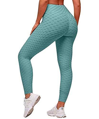 Uniquestyle Damen Sport Leggings Honeycomb Leggings Yoga Fitness Hose Lange Sporthose Stretch Workout Fitness Jogginghose Blau-grün S