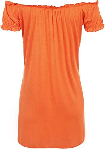 WearAll - Haut long et froncé qui dégage les épaules - Hauts - Femmes - Grandes tailles 42 à 56 Orange